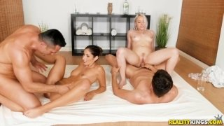 Two young cute girls arranged an orgy in country house