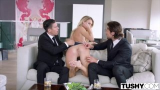 Blonde fucks with her husband and ex-boyfriend