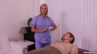 The blonde woman made guy's cock pulsate during massage
