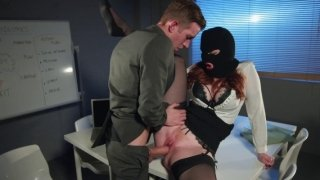 Masked ginger Zara DuRose riding cock with a great pleasure