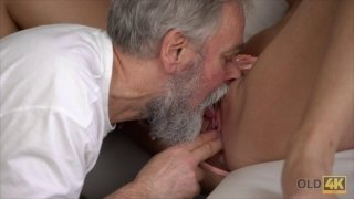 Jenny Smart rides small dick of a bearded old fart