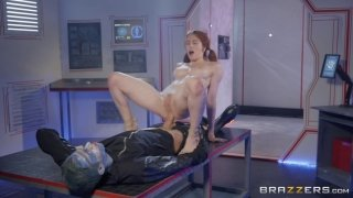 Redhead slut fucked by horny alien on his ship