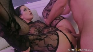 Gorgeous brunette Katrina Jade gets banged hard